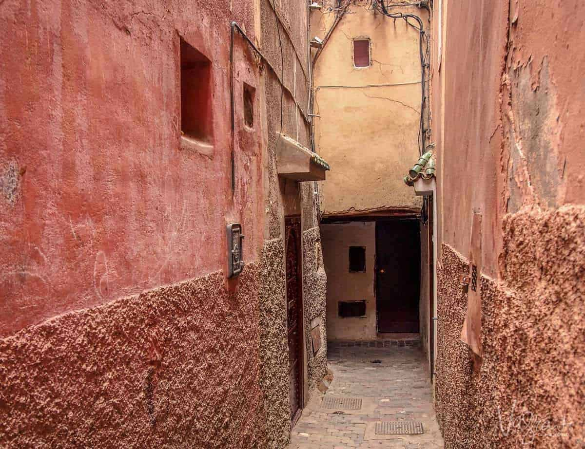 pink Laneways of Marrakech Morocco. Wandering around is Best free things to see and do in Marrakech Morocco