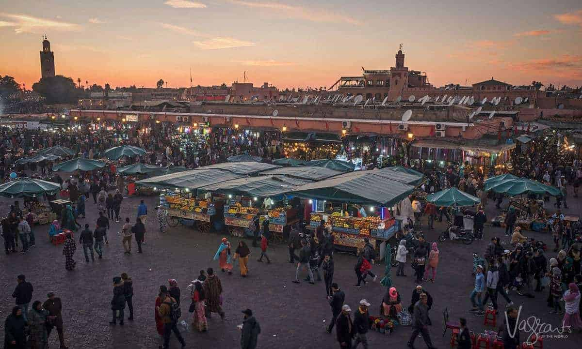 night view over Jemaa el-Fnaa Plaza Marrakech. Is Morrocco safe. Beware of pickpockets in Marrakesh Beware of scammers in Marrakesh.