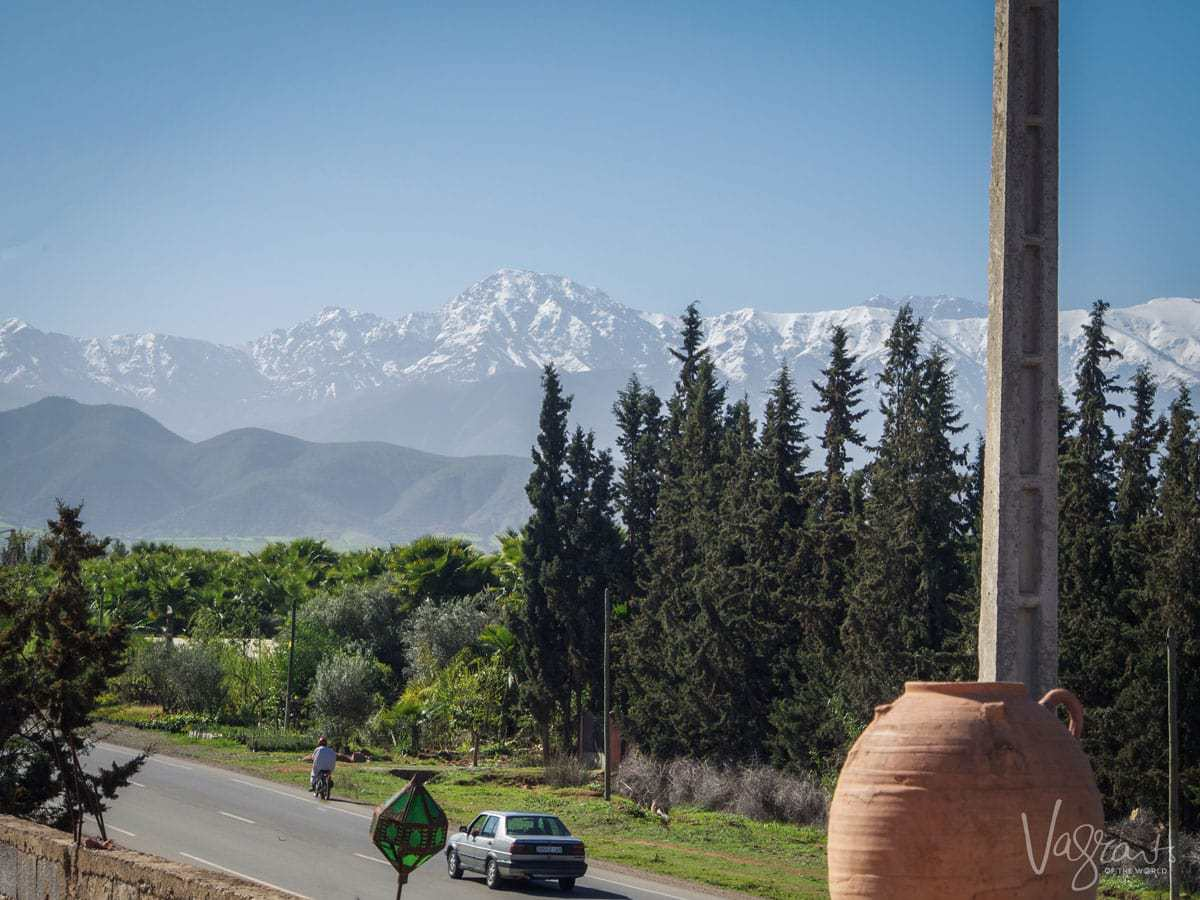 The Atlas Mountains seen from Marrakech Morocco. Things to avoid in Marrakesh. Beware of scammers.