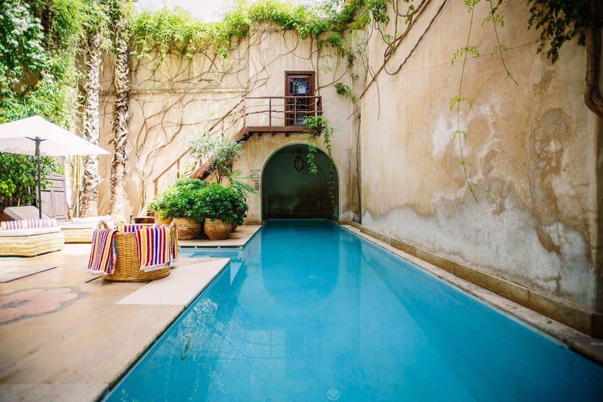Stay in Riad in Marrakech. What is a Riad, some are basic but they are all lovely. This one has a stunning pool.