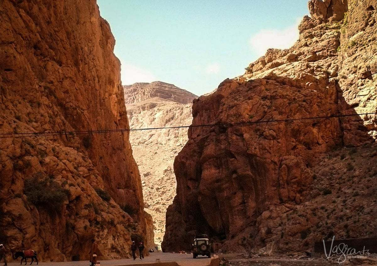 Driving through the narrow Todra Gorge on a moroccan road trip