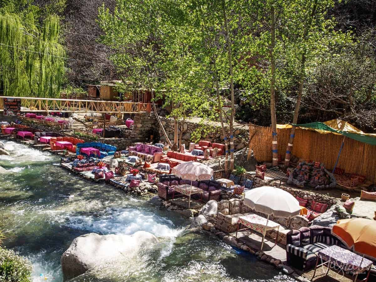 Riverside restaurants offering beautiful Moroccan tagines in the Atlas Mountains, Morocco