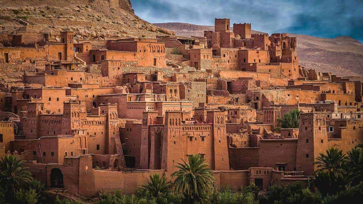 Moroccan road trip Marrakech to Fez - Ait Benhaddoua village of clustered Berber Kasbahs recently a location setting for Game of Thrones