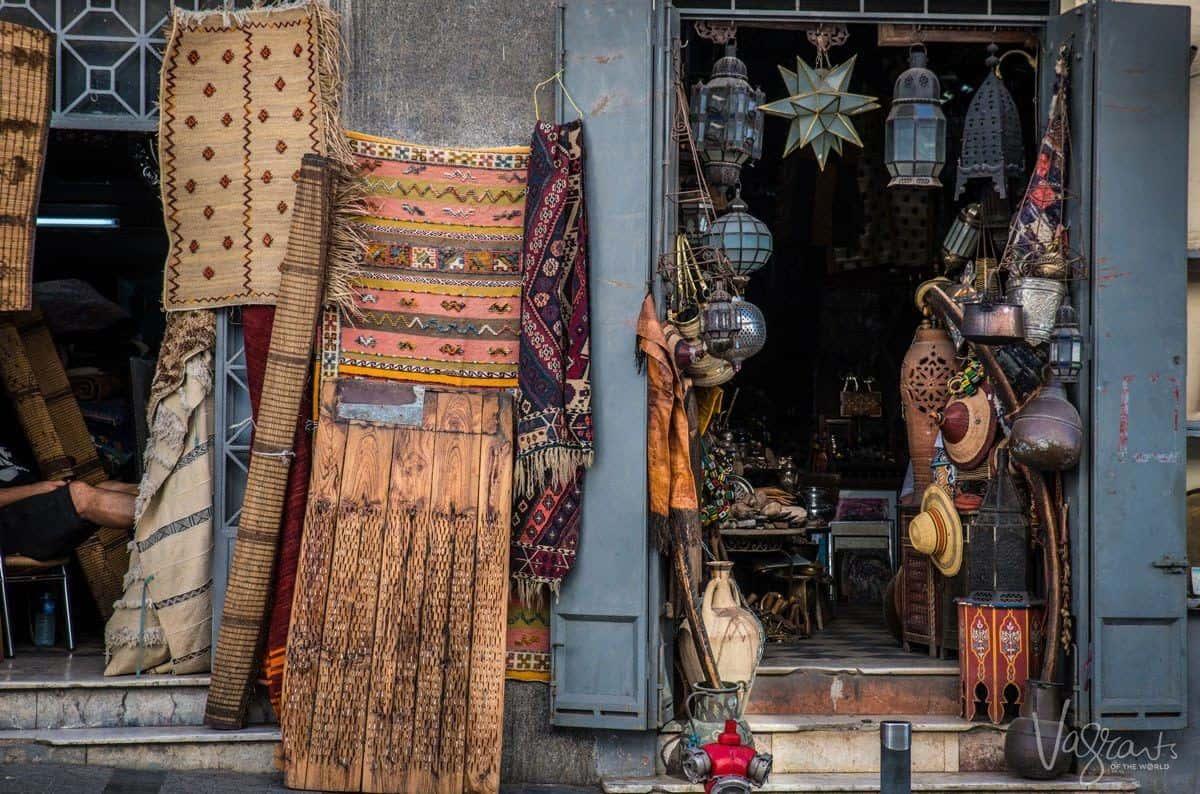 Shopping in Morocco. Bartering in the souks in Marrakesh.