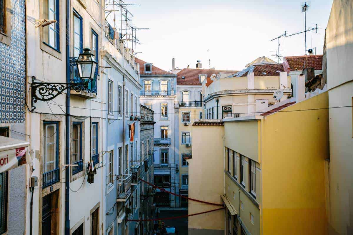 Lisbon apartments and ornamental lights. Lisbon Attractions. Lisbon Portugal