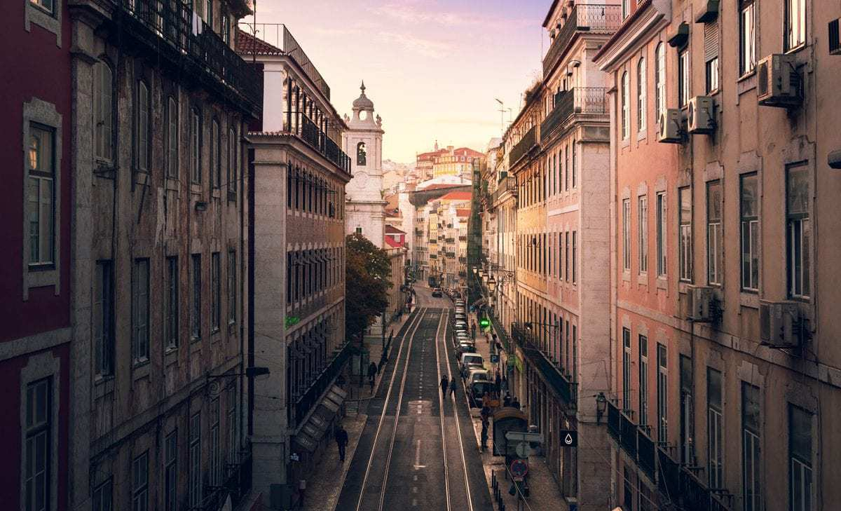 A downward view of lisboa street. Things to see in Lisbon Portugal