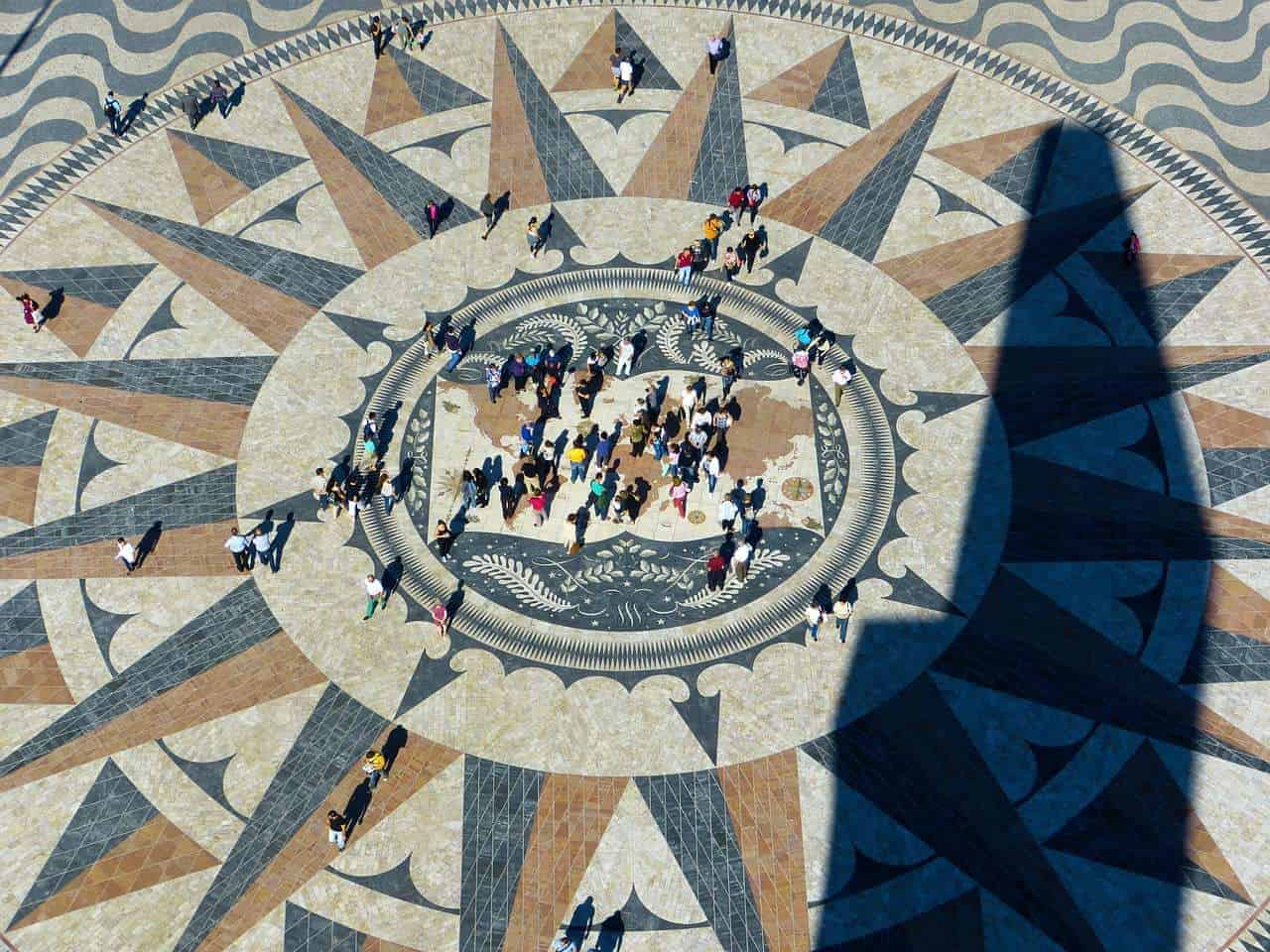 People standing in the centre of mosaic at Monument to Discovery. Top things to do in Lisbon. Monument to Discovery.