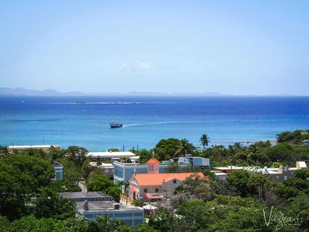 Boat coming into Vieques island Puerto Rico
