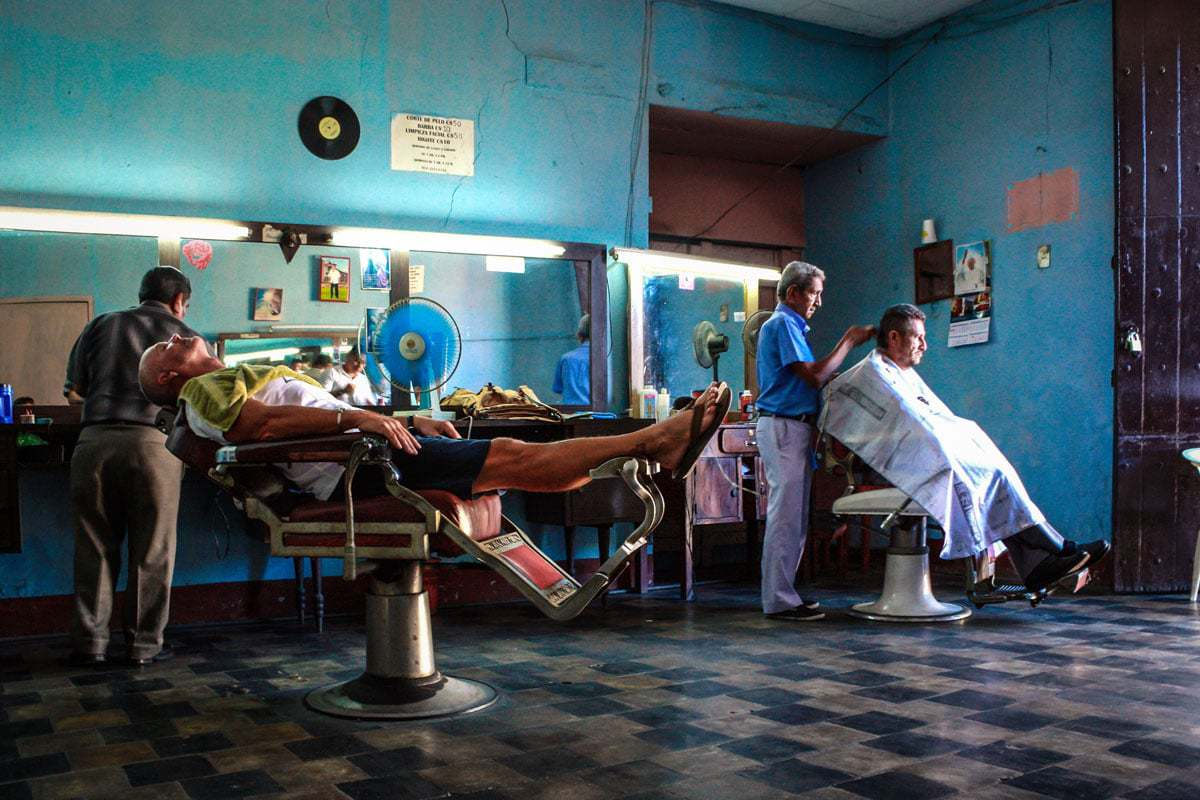 An old fashioned barber shop in Leon Nicaragua