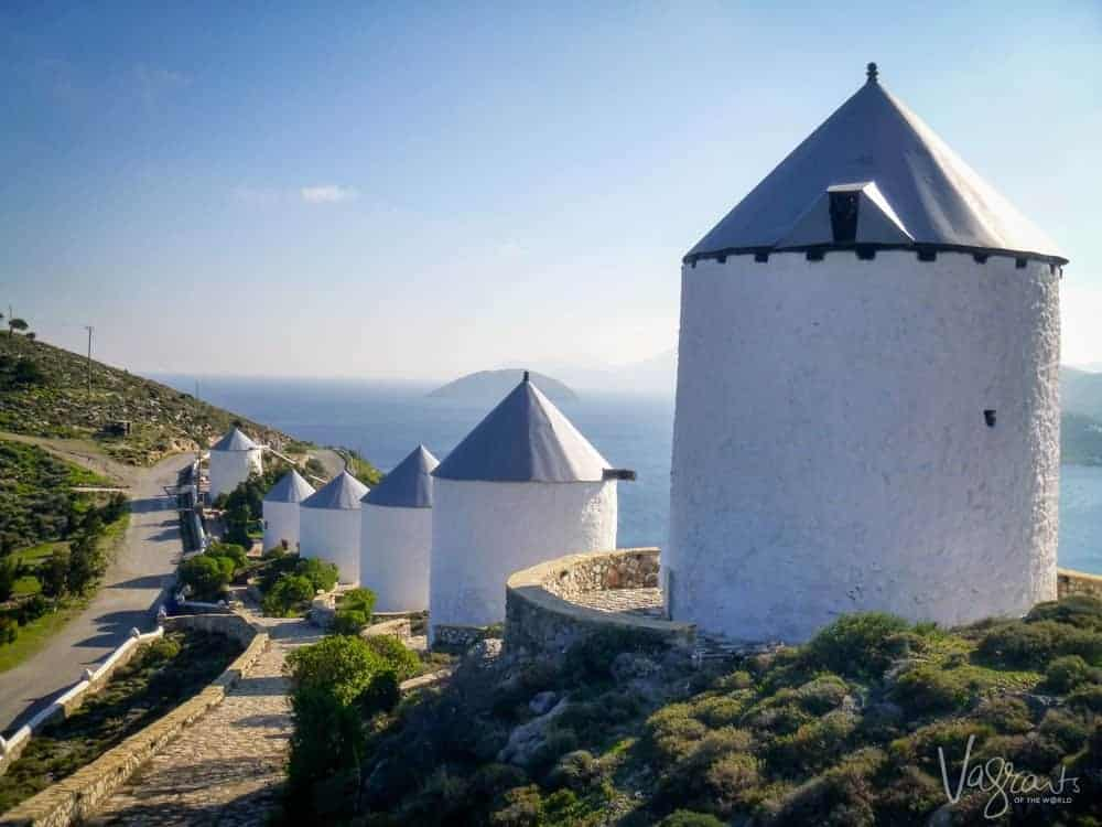 Windmills on Leros Island Greece