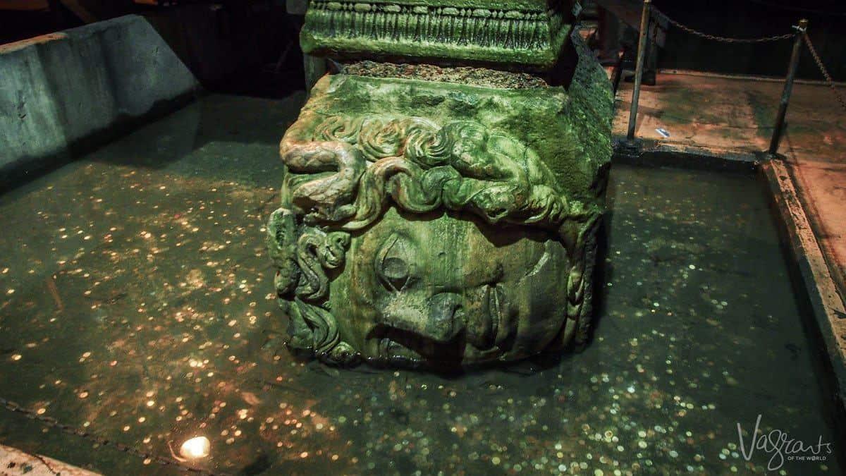 Medusa Head Basilica Cistern Istanbul Turkey