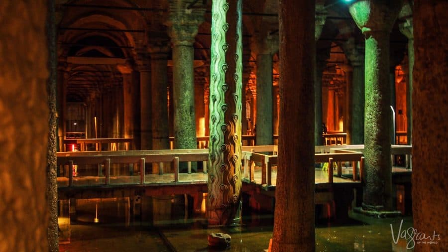 columns with Tears and hens eyes carved into them in the Basilica Cistern Istanbul Turkey. this is in the top ten things to do in istanbul and is a must for your istanbul itinerary
