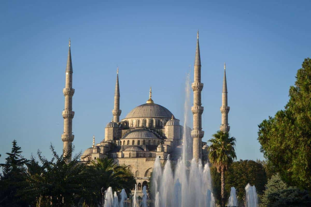 fountain in front of the 4 spires and Blue Mosque, Istanbul Turkey. this iconic building is on everyones istanbul sightseeing list