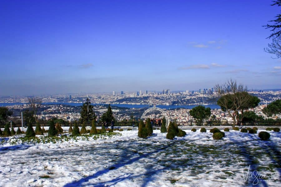 the view over istanbul and the bospherus from snow covered Camlica Hill. Istanbul Turkey