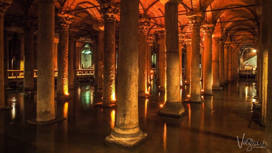 the lit columns rising from the water in the Basilica Cistern Istanbul Turkey. another one of the great things to do in istanbul an a reason so many people visit istanbul.