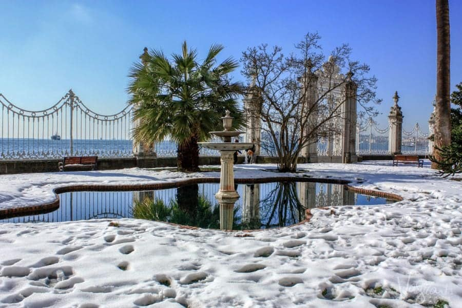 snow around small lake and fountain outside Dolmabahçe Palace. Istanbul Turkey. not the best tourist attraction in istanbul but worth a visit