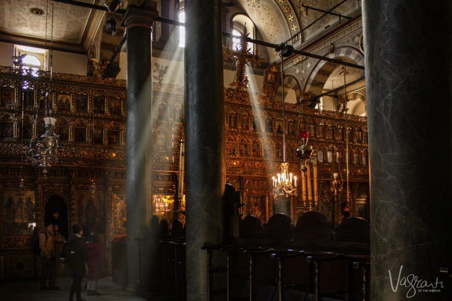 god rays coming into the the Fener Greek Patriarchate, Istanbul Turkey