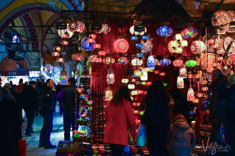 colourful lanterns in a stall at the Grand Bazaar Istanbul. this a great thing to see in istanbul and it is free, there are plenty of free things to do in istanbul