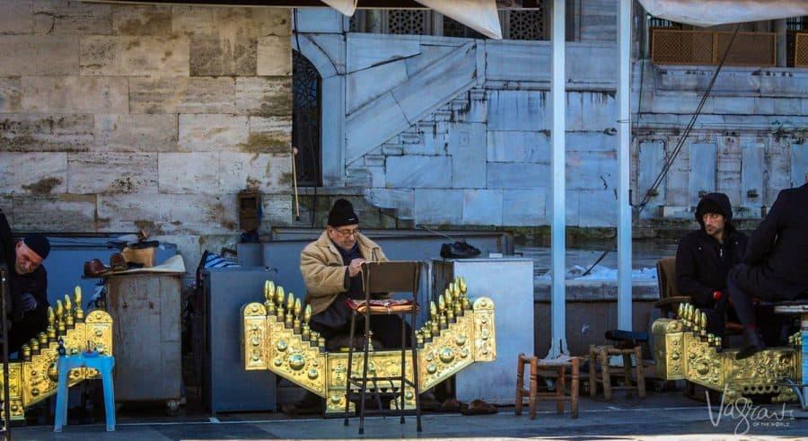 Turkish shoe shine men with their golden organ shaped shoe shining platforms. Get your shoes shined like a local in Istanbul which is a must do when you visit istanbul