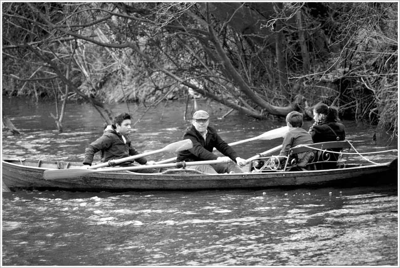 Rowing down the Avon River, Bath England UK