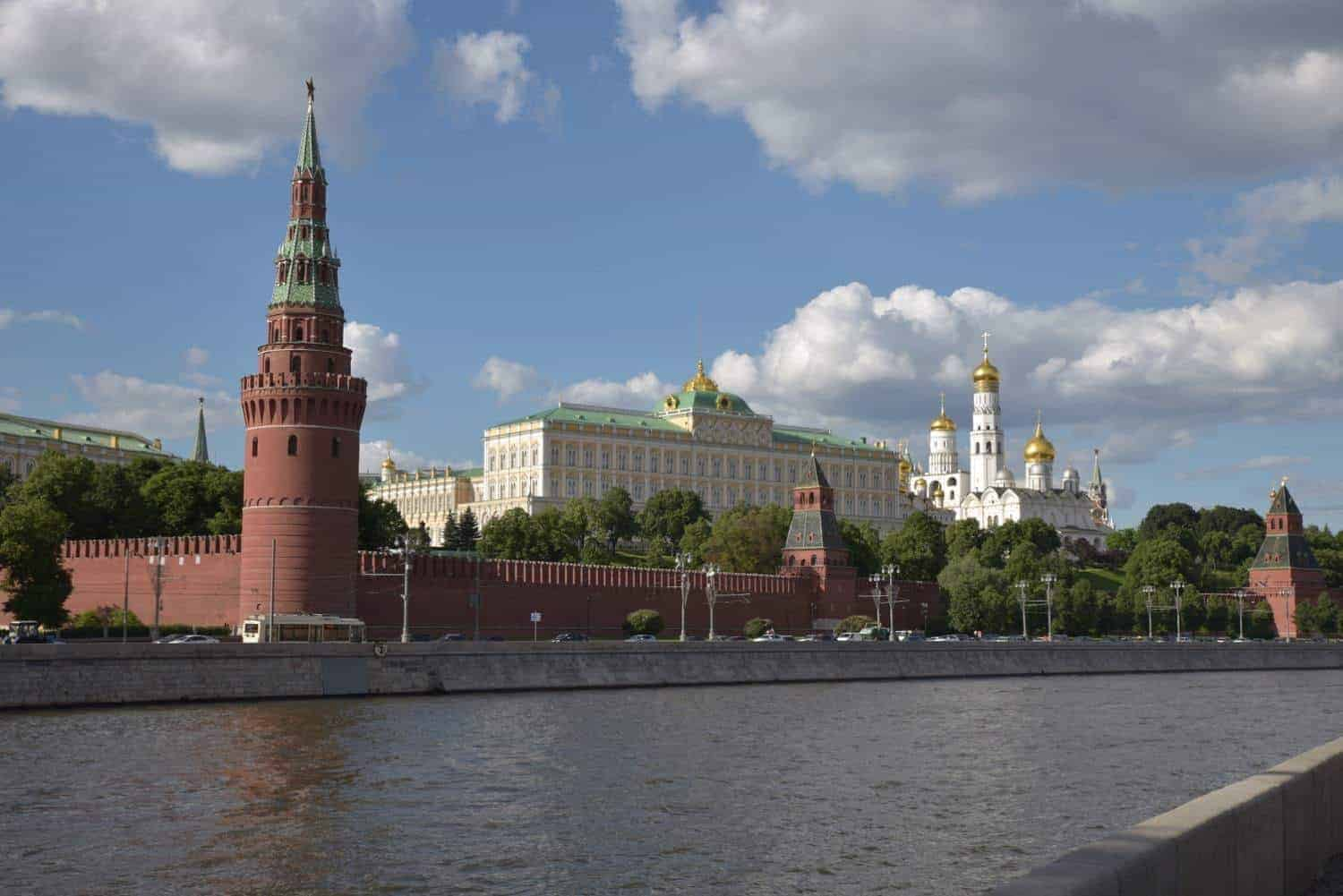 view across river to the famous russian building the red Kremlin fortress. One of the best things to see in Moscow Russia