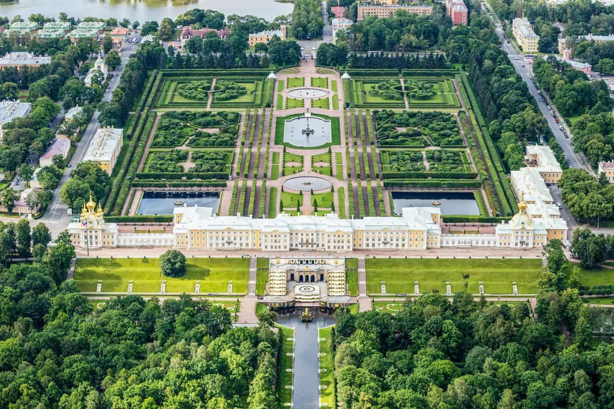 Aerial view of Peterhof Palace one of the best things to see in St Petersburg.