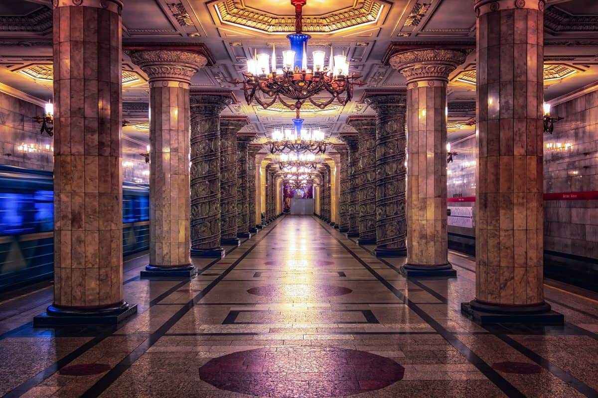 Columns and chandeliers dominate this St Petersburg metro station.  Except for the ticket this is a great free thing to do in St Petersburg, explore the metro.