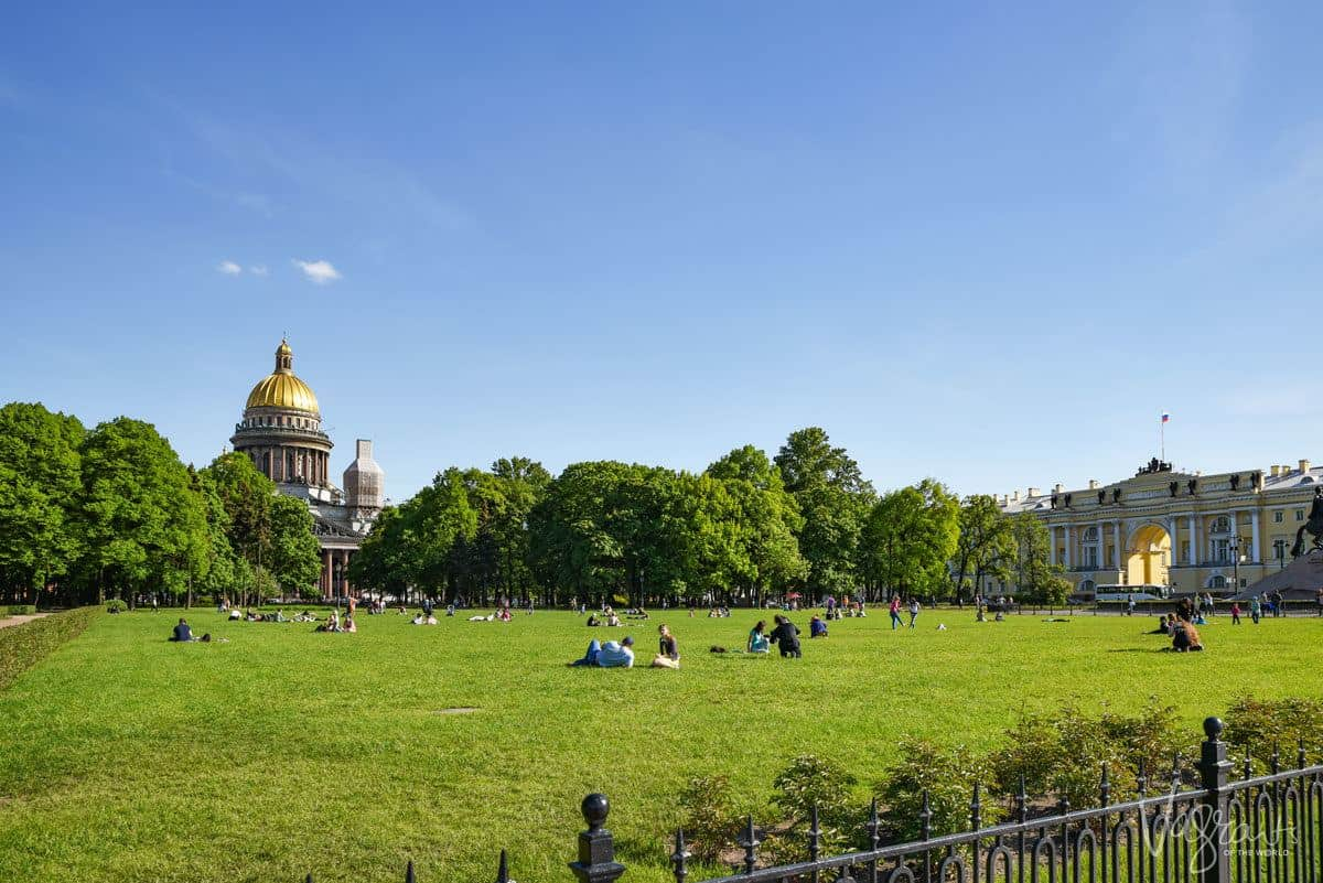 People enjoying green space in St Petersburg, another one of the best free things to do in St petersburg russia