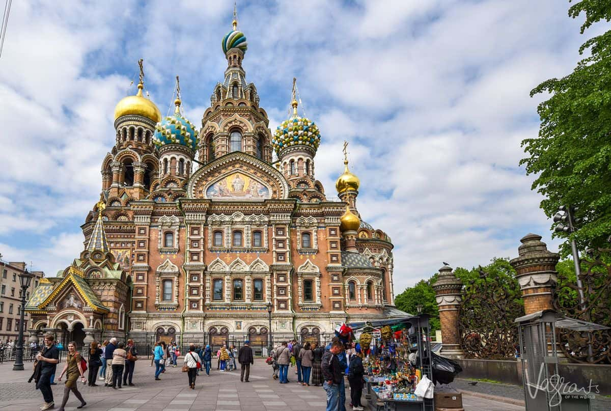 The onion domes atop the church on spilled blood. A visit here is a must thing to do in Saint Petersburg Russia