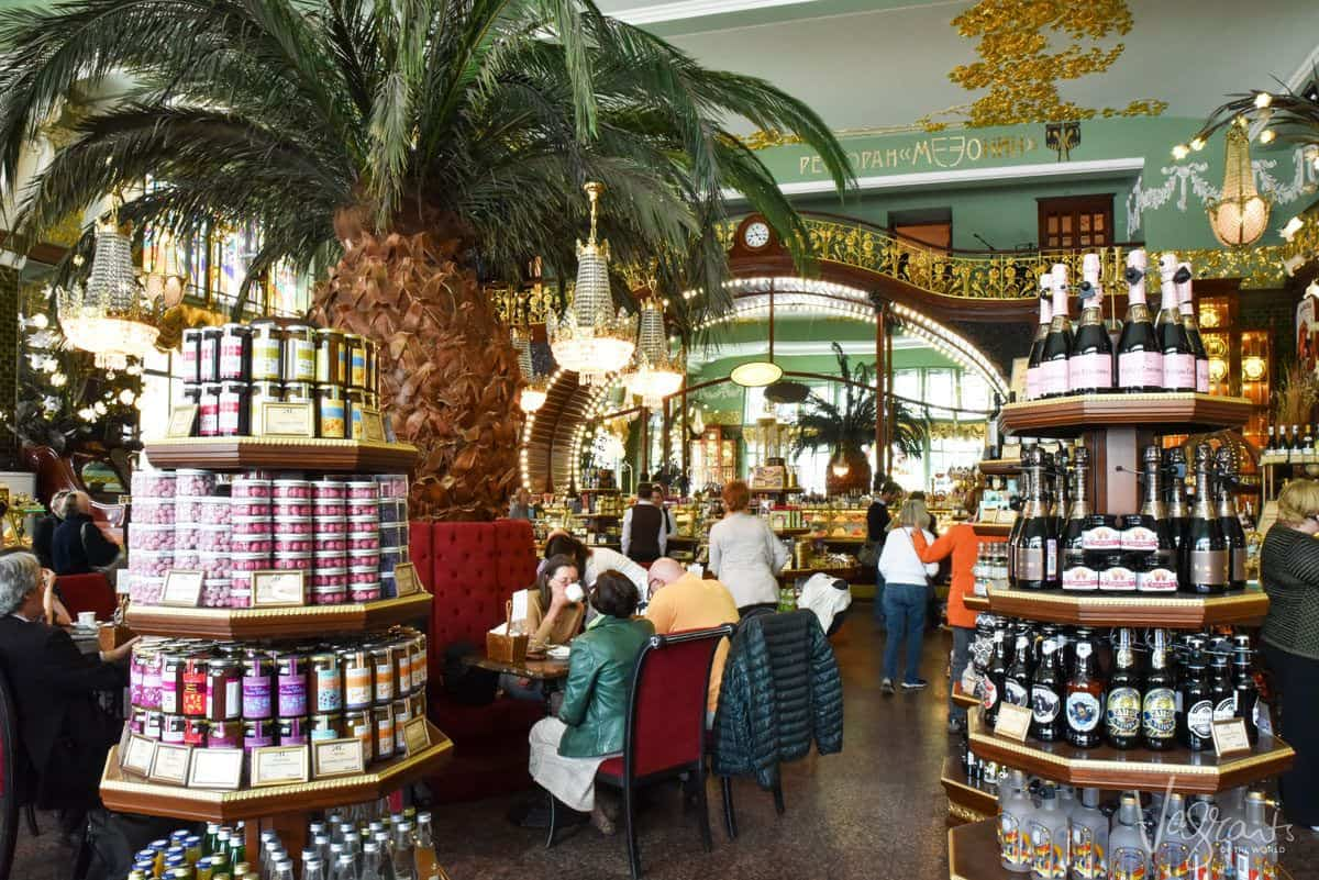 Speciality Russian deli with stacks of tinned food and bottles of wine. Best places to shop in St Petersburg.