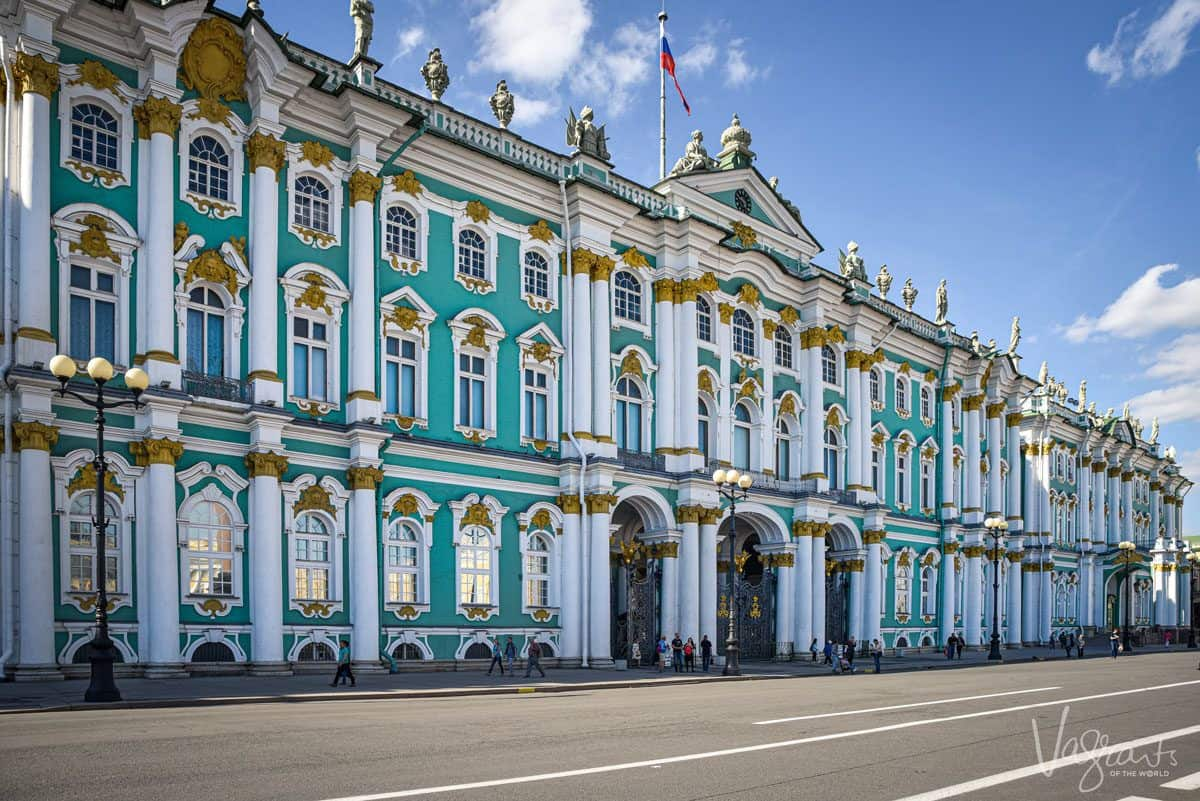 Blue building with white and gold pillars in st petersburg. This is just one of the hidden treasures in st petersburg.