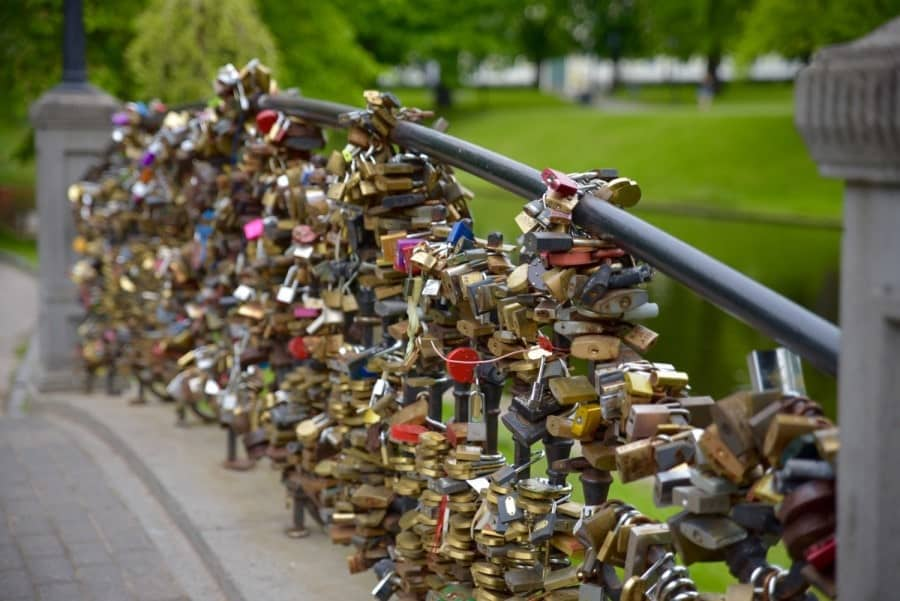Love locks on bridge in Riga. Great places to have on your Riga three day itinerary