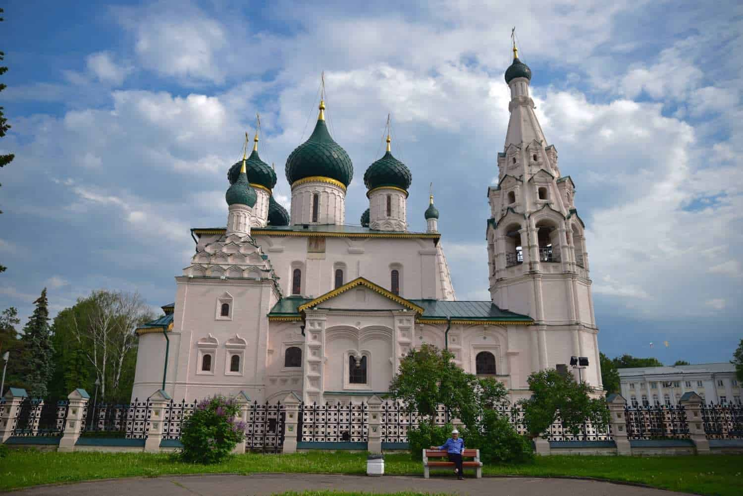 white church with gold topped green parapets in Yaroslavl Russia. these are the amazing things you will see on a viking river cruise st petersburg to moscow