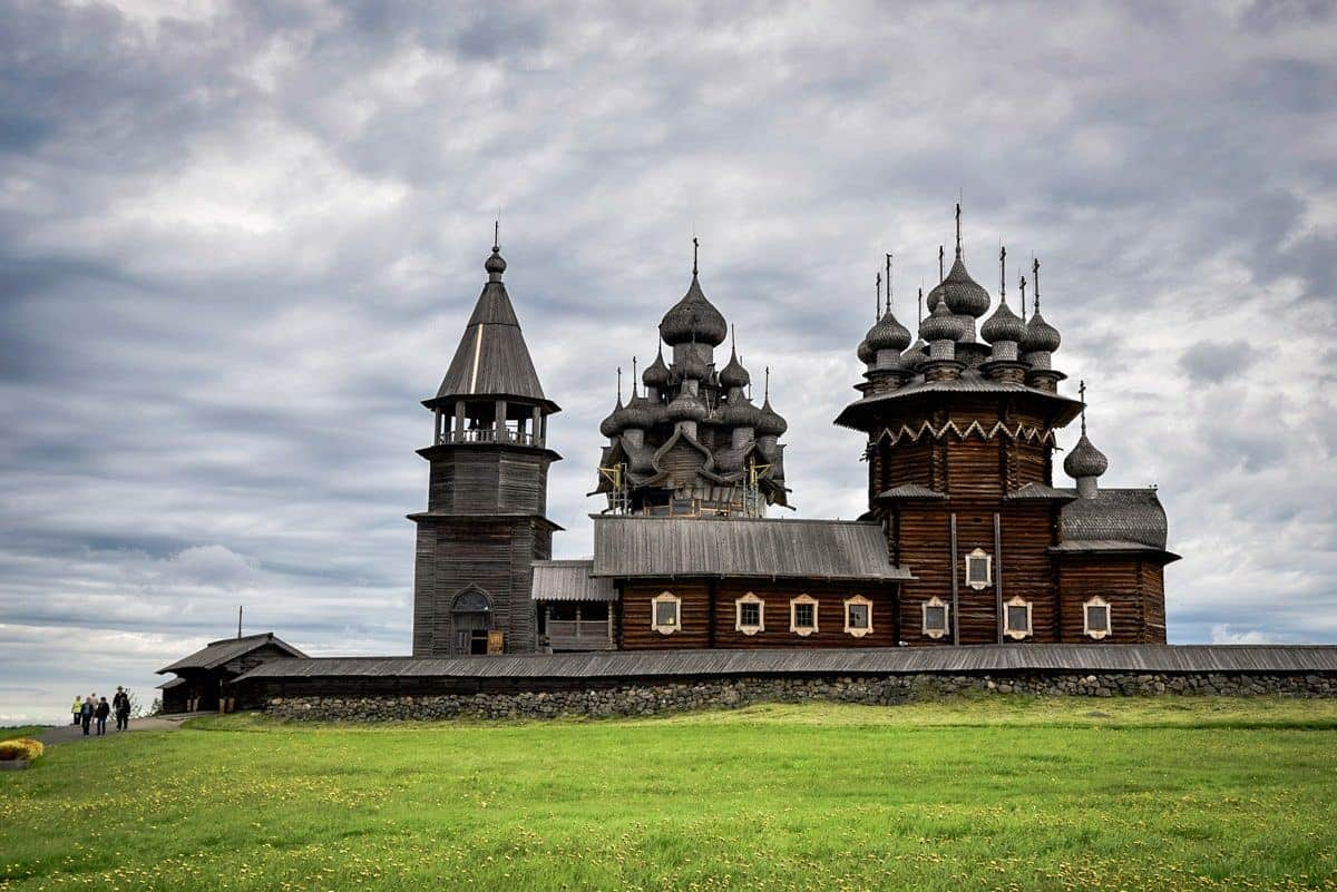 the two domed church on Kizhi Island Russia - viking's Waterways of the Tsars Cruise is the best way to see russia in a short period of time