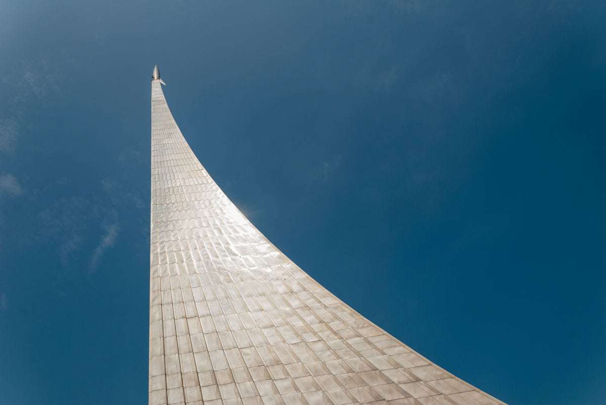 Things to do in Moscow - Visit the Memorial Museum of Cosmonautics. Looking up at the impressive monument to the conquerors of space