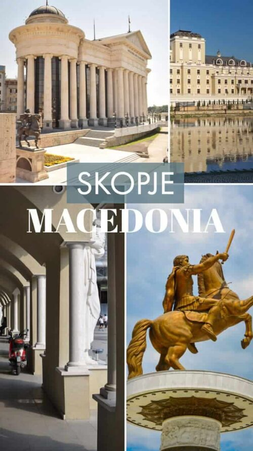 Collage of 4 images of sites in the city of Skopje Macedonia