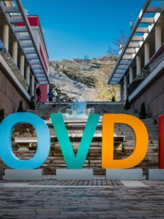 Giant colourful PLOVDIV sign on cobbled steps celebrating the cultural capital of europe 2019. Best things to see and do in Plovdiv, Bulgaria