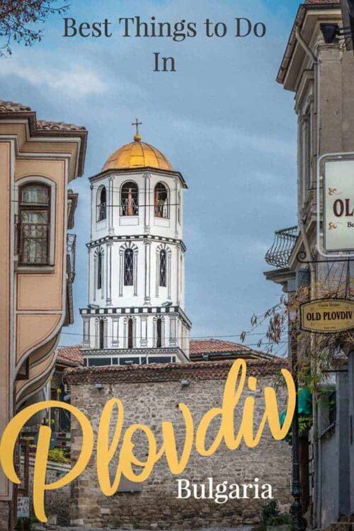 Old church tower in the city of Plovdiv Bulgaria