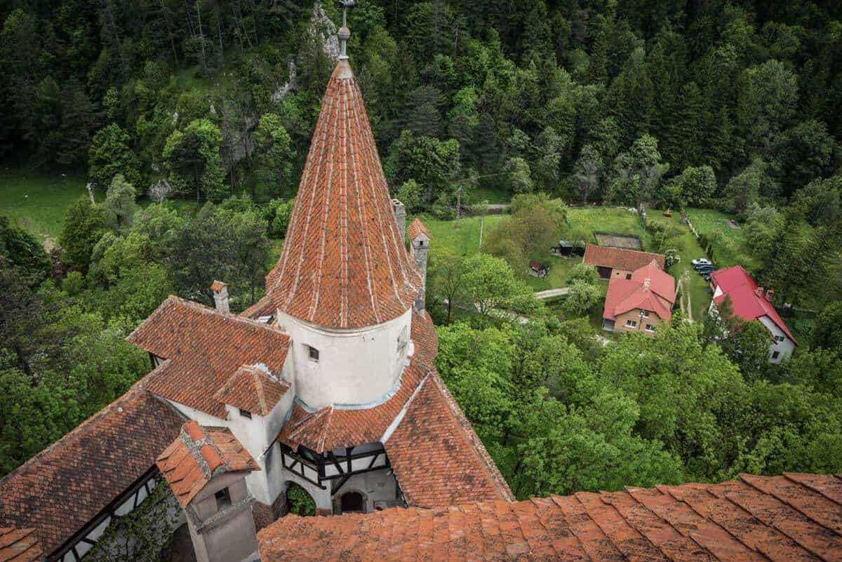 A view over the Parapet of Bran Castle Transylvania Romania. dracula's castle romania, best things to see and do in romania