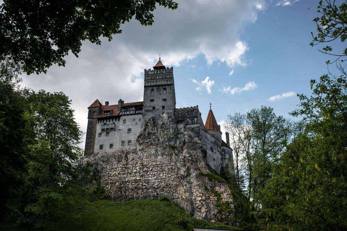 A view looking up to Bran Castle Transylvania. dracula's castle romania, best things to see and do in romania