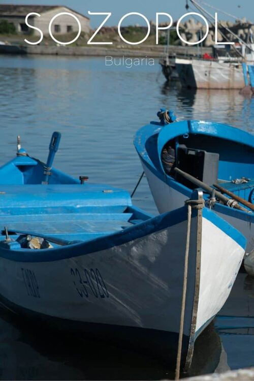 Blue and white fishing boats in Sozopol Bulgaria