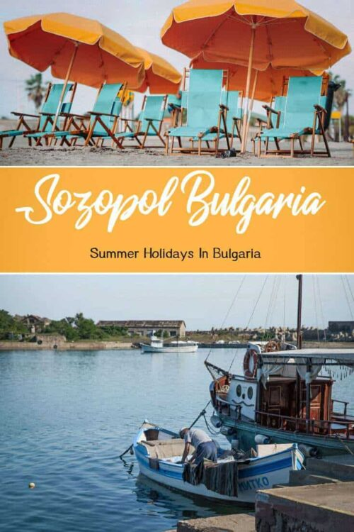 Collage of images of Sozopol Bulgaria with beach scene and traditional fisherman.