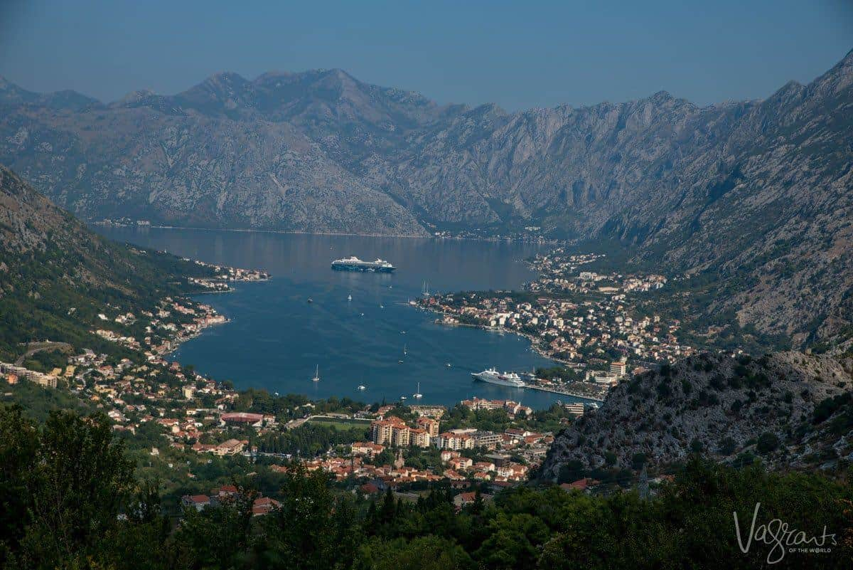 Bay of Kotor from the lookout with cruise ship moored in the bay.