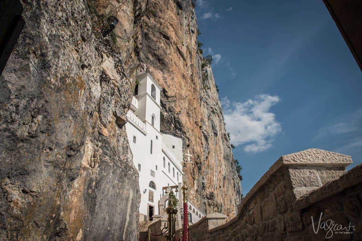 Ostrog Monastery built into the cliff face in Montenegro.