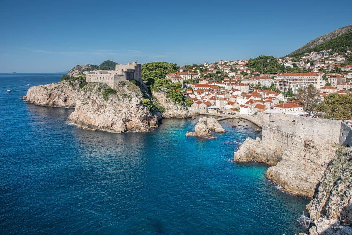 16th century Lovrijenac fortress sits on the cliff above the adriatic overlooking the walled city of Dubrovnik Croatia.