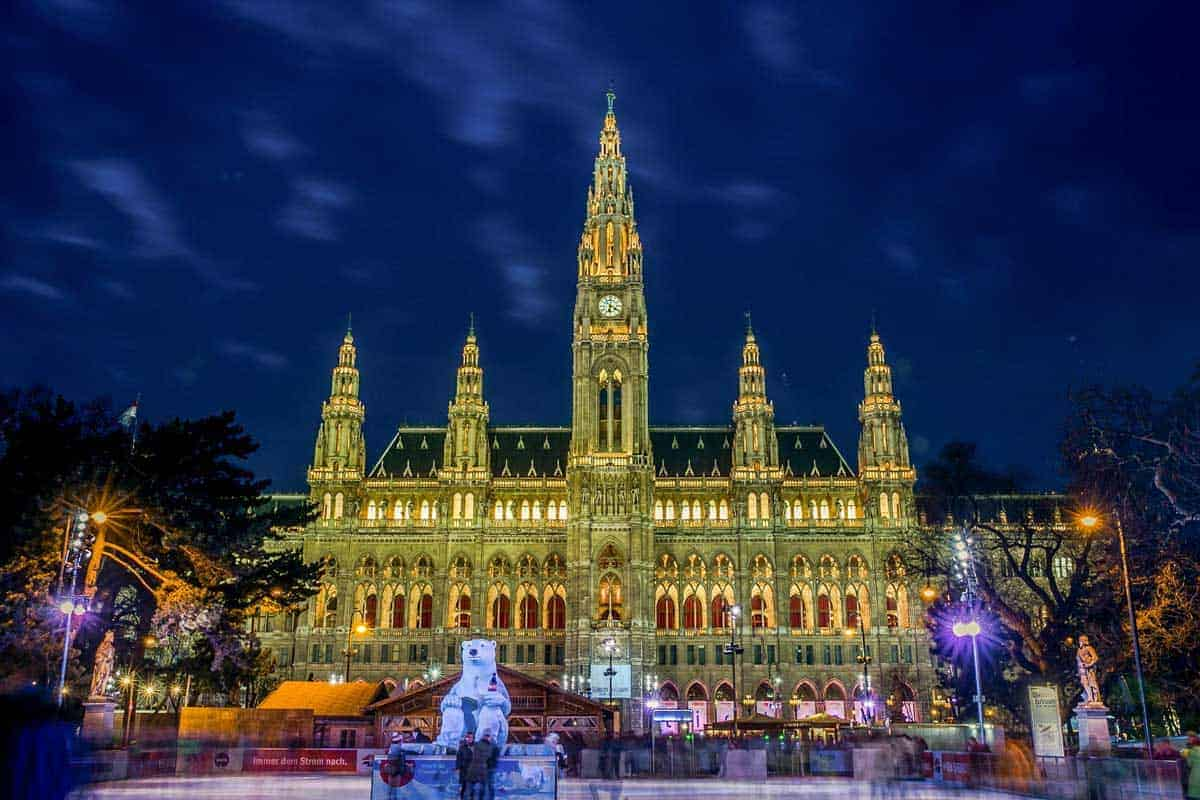 Vienna city hall ice skating