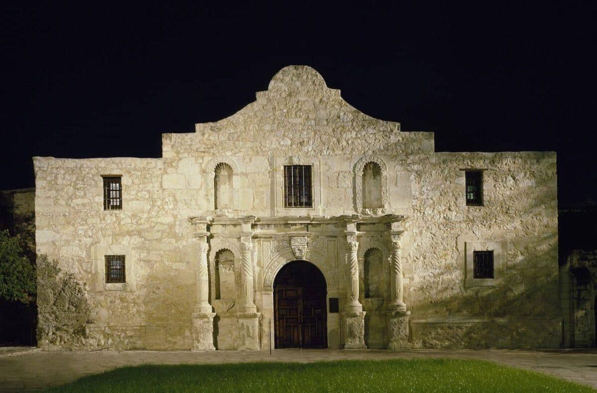 The Alamo in San Antonio at night.