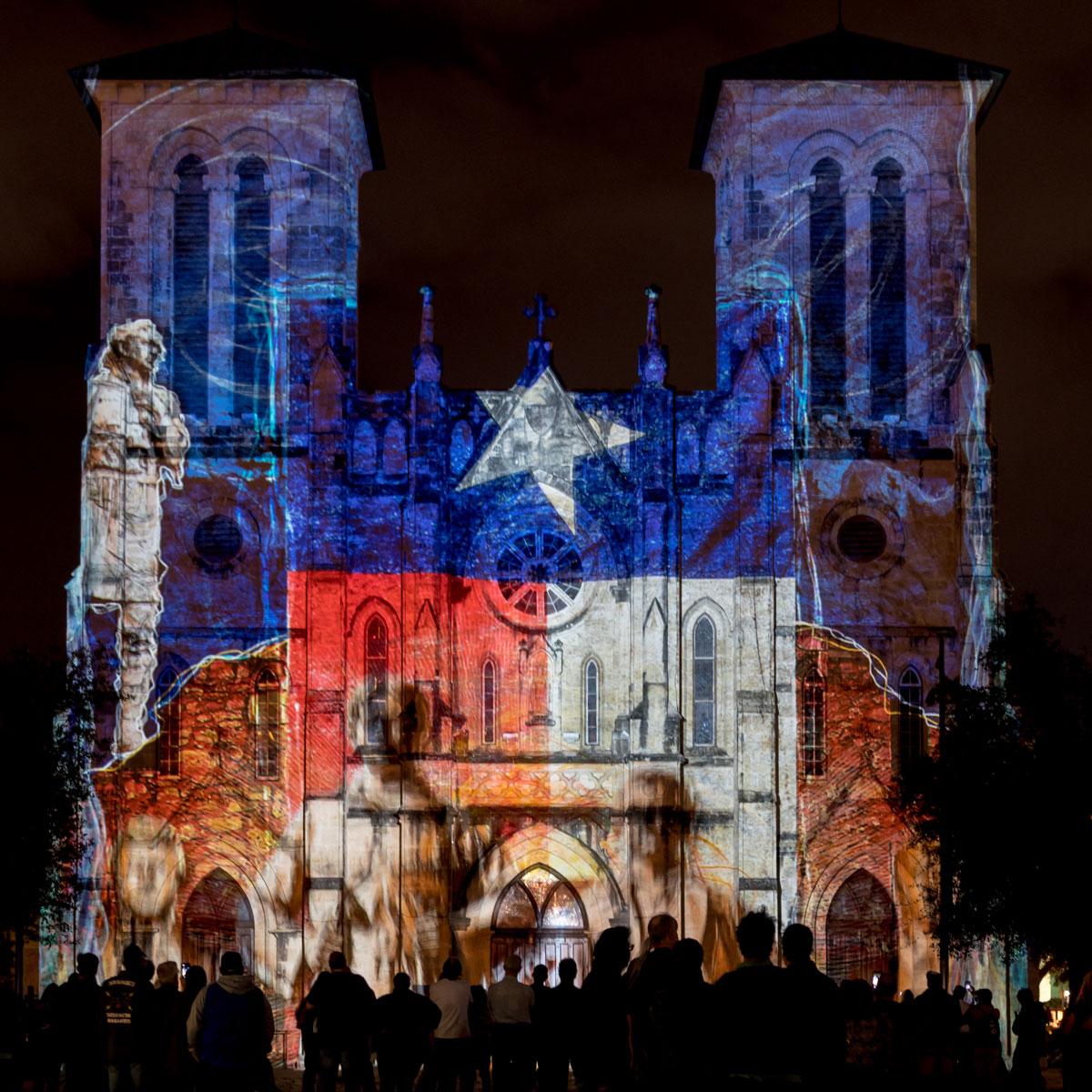 The lightshow on the facade of San fernando church in San Antonio.