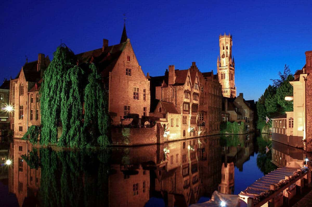Night in Bruges Belgium