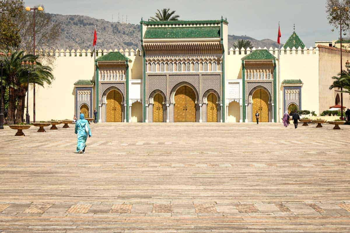 the front gates of Dar el Makhzen the royal palace in Fes Morocco
